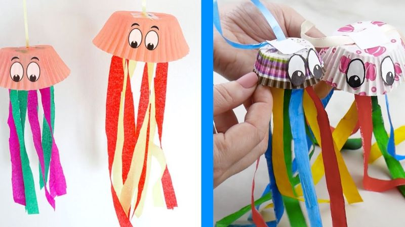 Cupcake Liner Jellyfish Craft