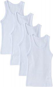 Sportoli Boys Ultra Soft 100% Cotton White Tank Top Undershirts