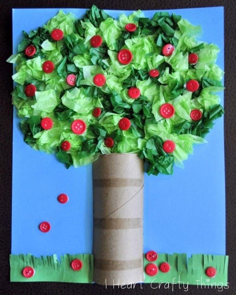 Tissue Paper 3D Apple Tree Craft