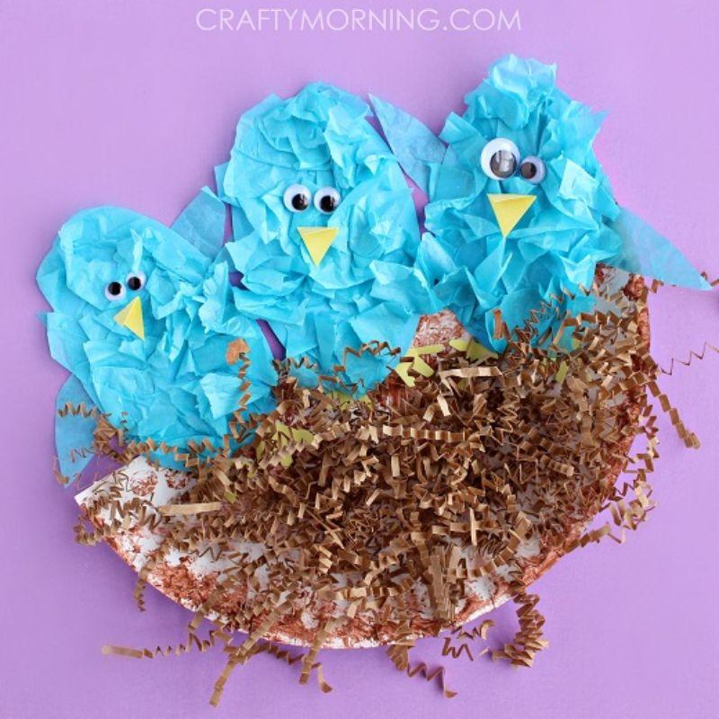 Tissue Paper Bird in a Nest Craft