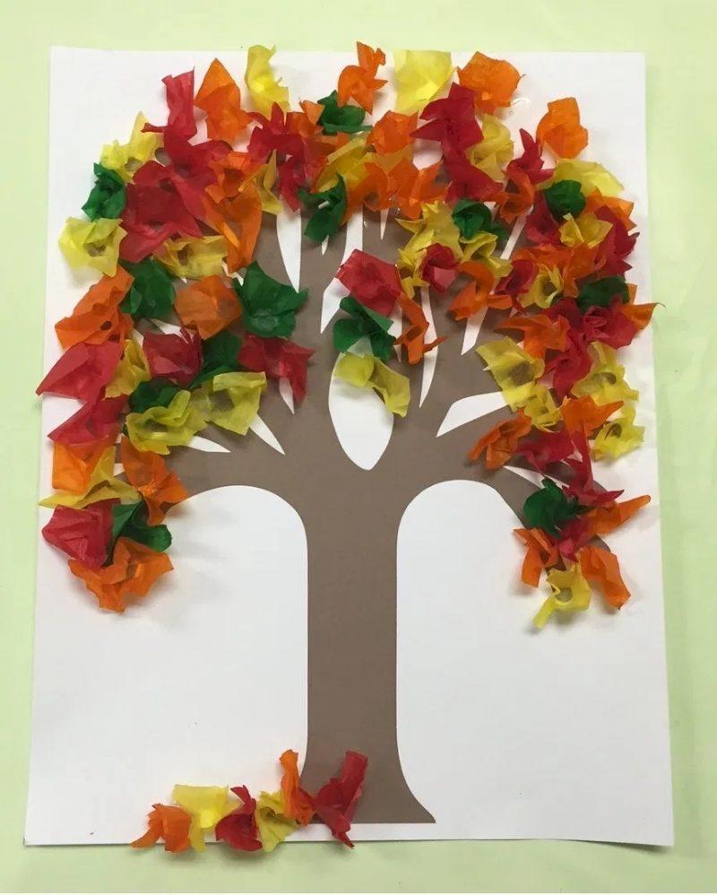 Tissue Paper Fall Tree Art