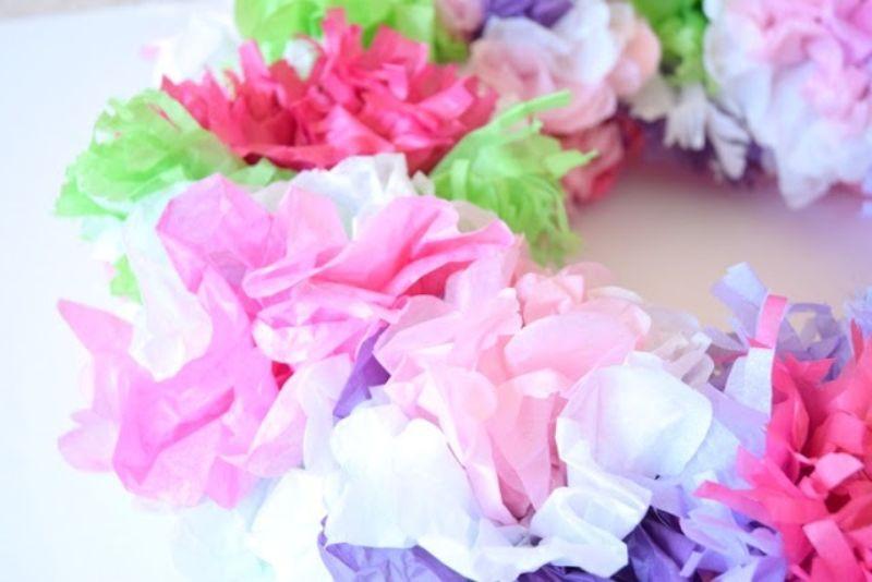 Tissue Paper Flower Wreath Craft