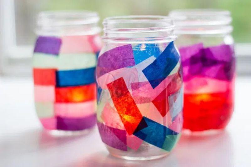 Tissue Paper Mason Jar Lantern Craft
