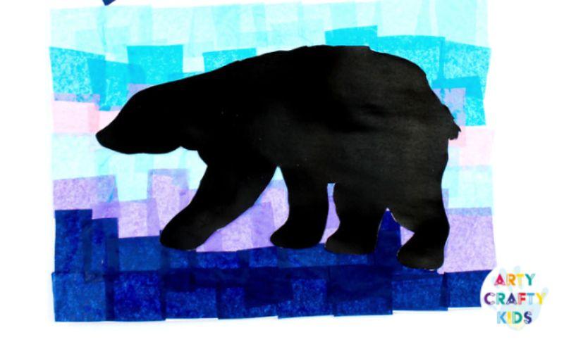 Tissue Paper Polar Bear Art