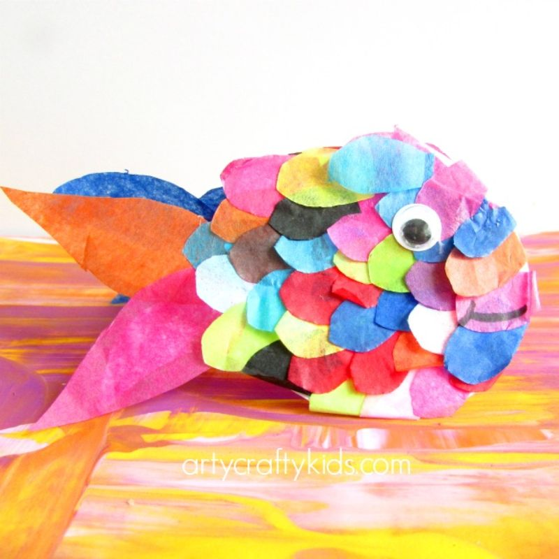 Tissue Paper Rainbow Fish Craft