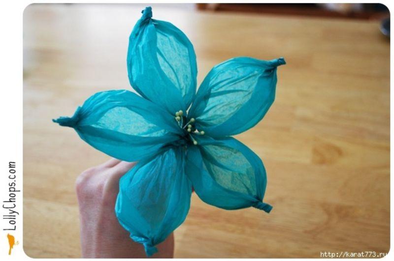 Tissue Paper Wide-Petalled Flower Craft