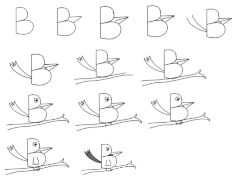 """""""B Is For Bird"""" Drawing"""