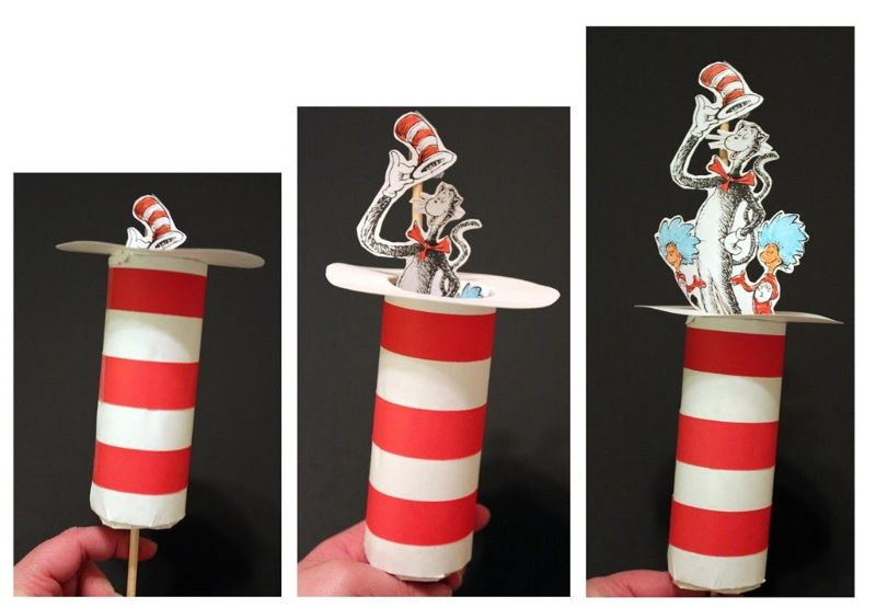 Cat in the Hat Toilet Paper Roll Pop-Up Craft