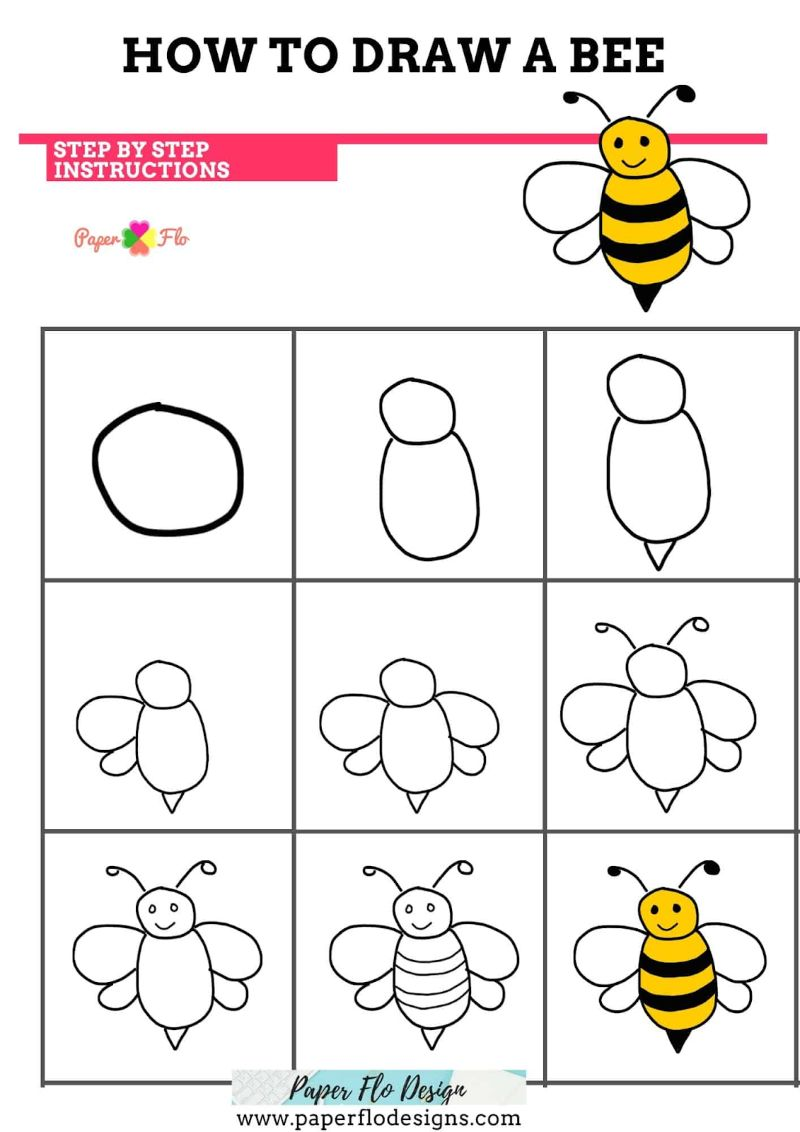 Circles and Ovals Bee Drawing