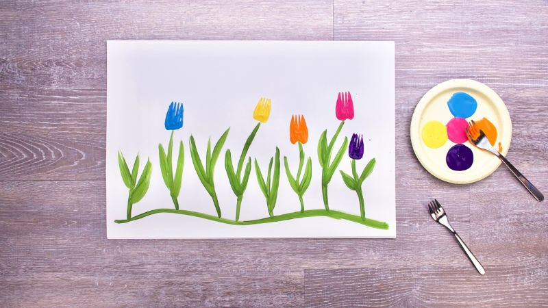 Fork Flowers Painting