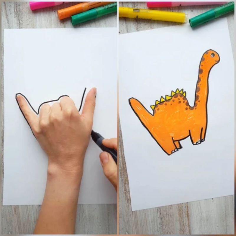 Hand Traced Dinosaur Drawing