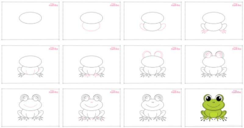 Oval Frog Drawing