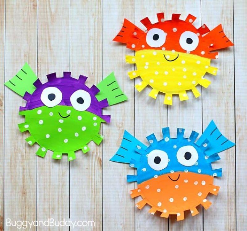 Paper Plate Pufferfish Craft