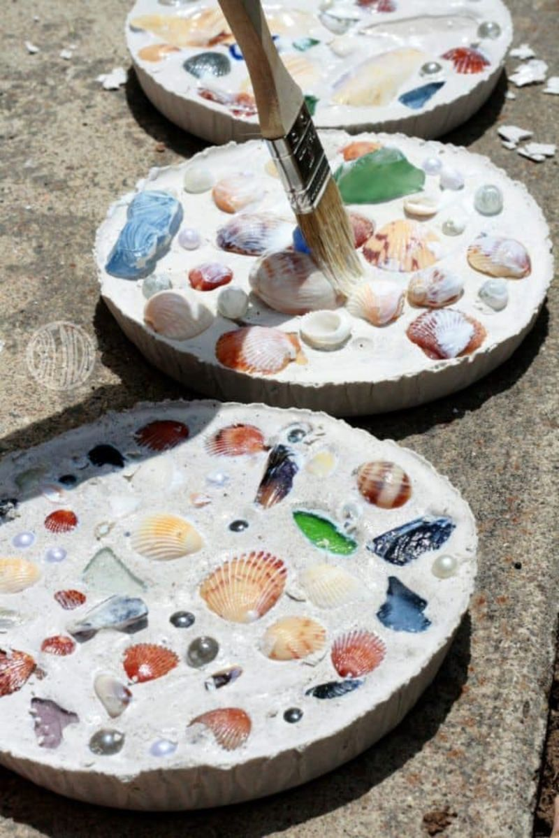 Plaster of Paris Seashell Mosaic Craft
