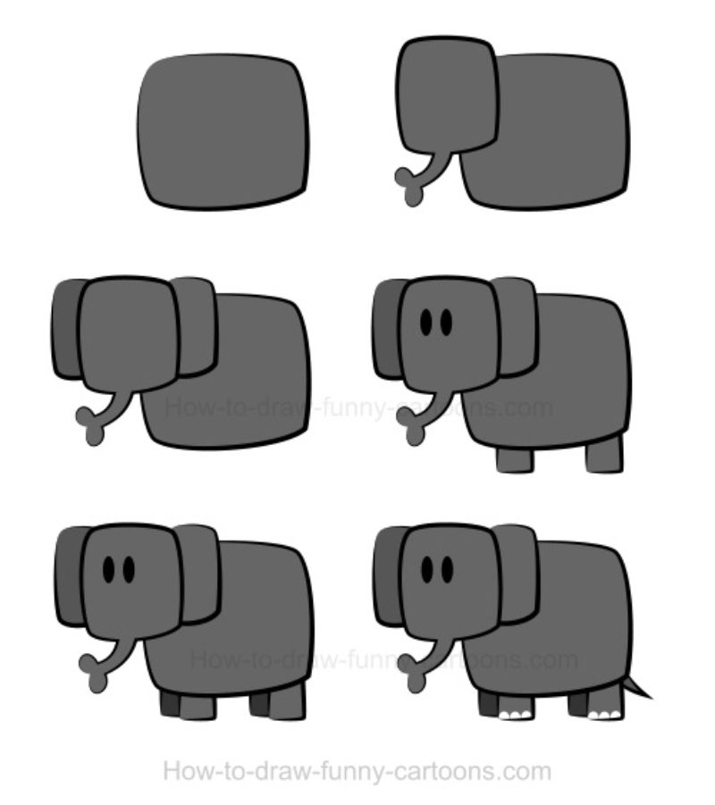 Squares and Rectangle Elephant Drawing