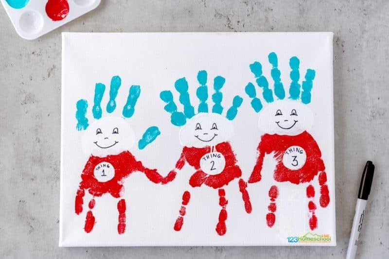 Thing 1, Thing 2, and Thing 3 Handprint Craft